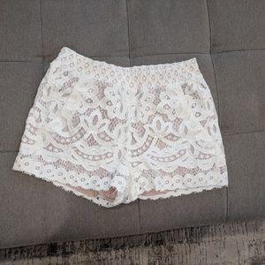 Pants - BCBG white lace shorts